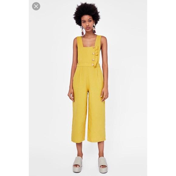 2eb3594ab6c1 Zara Mustard buttoned linen jumpsuit. M 5bba606dc61777a7e62e4ecd
